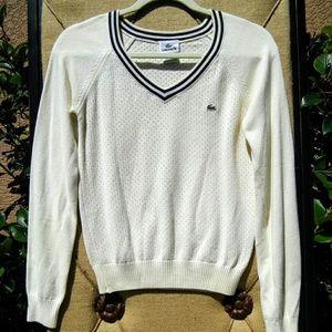 LACOSTE Vintage V-Neck Sweater Small 38 France